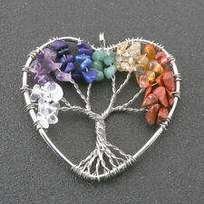 Charm Love Heart Tree of Life Gemstone Chip Beads Pendant For Necklace DIY