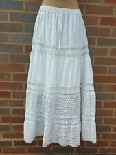 Cotton Lace White Skirt Summer Gypsy Boho Festival One Size 12 14 16 18 20