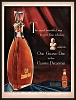1953 OLD GRAND DAD Whiskey Holiday Christmas Glass Decanter Vintage PRINT AD