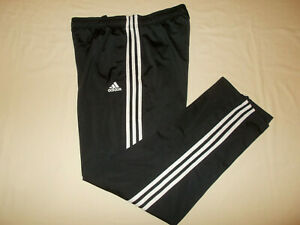 ADIDAS BLACK W/WHITE STRIPES ATHLETIC PANTS MENS LARGE EXCELLENT CONDITION