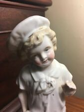 Antique German Porcelain Figurine Angelic Faced Boy Holding Ball Over 8""