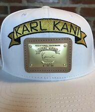 new product 5ee22 d987b Karl Kani 39Thirty White Embroidered Logo   Leather Metal Patch Snapback Hat   2