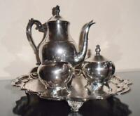 Silver,  5 Piece Tea Set with Tray  ( F.B.Rogers )   No Monogram,   Very Nice !!