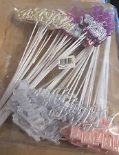 Thank You Floral Picks Cake Toppers Crafts Decoration Party Supplies - 6 dz