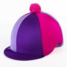 Lycra Riding Skull Cap Covers  XC Hat Silk Tri Colour Pompom  One Size Ass Cols