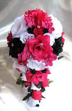 Wedding Bouquet Bridal Silk flowers WHITE FUCHSIA BLACK HOT PINK 17pc Cascade