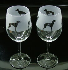 Italian Greyhounds Wine Glasses by Glass in the Forest..Boxed