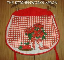 VINTAGE  THE KITCHENWORKS POINSETTIA  RED APRON MINT MADE IN  CANADA FABULOUS