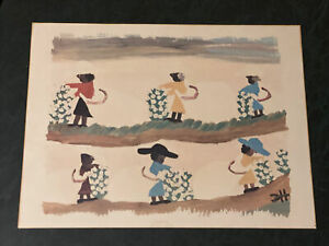 Rare Clementine Hunter Vintage Print Picking Cotton