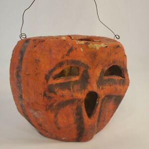 Vintage Paper Mache Jack-o-Lantern Pumpkin 5 1/2 Inch w/ Wire Hanger