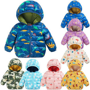 Toddler Baby Boy Girl Winter Cartoon Windproof Coat Hoodie Warm Outerwear Jacket