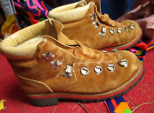VTG 80s Thick Brown Leather Waffle Sole Alpine Hiking Boots - Women's Size 6 6.5