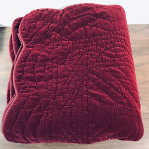 "Cotton Burgundy Wine Velvet Quilt Coverlet Scalloped 86"" x 90"" Full / Double"