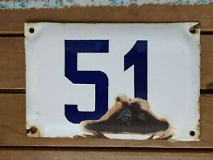 vintage enamel porcelain number 51 house sign # 51
