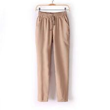 Womens Casual Sport Elastic Waist Chiffon Harem Long Pants Drawstring Trousers