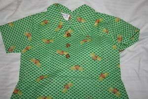 Vintage Girls Dress Or top  Size  2 - 4  Green with Bees Unwarn