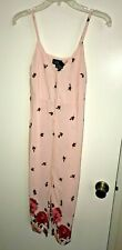 New Women's  TopShop Pink Floral Red Rose Sun Dress Petite 0P