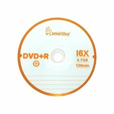 10 Pcs Smartbuy DVD+R 16X 4.7GB Logo Top Blank Record Disc w/ 10 paper sleeves