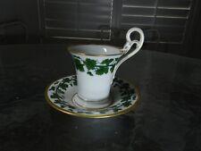 Antique Meissen Ivy Cup and Saucer Swan Handle Gold Biedemeier Period 1815