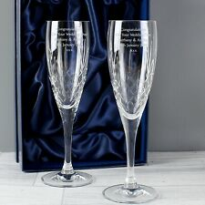 Personalised Champagne Pair of Flutes Crystal Engraved Toasting Champagne Glass