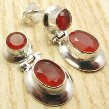 925 Sterling Silver Plated Red CARNELIAN 2 Stone Well Made HINGE STUD Earrings
