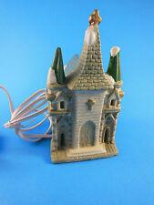 "Porcelain Christmas Village Church with Light 5.5"" H 3.5"" Base"