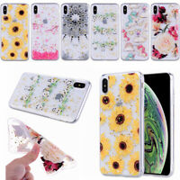 Glitter Gold Foil Flower For iPhone XS MAX XR X 7 8 6 Plus Clear Soft Phone Case