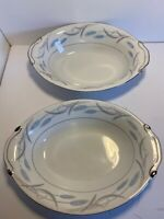 """Two Vintage Valmont China """"Royal Wheat"""" Oval Serving Bowls Approx. 11""""x8"""" -chips"""