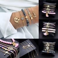 1Set Women Boho Bracelets Map Beads Love Heart Tassel Bangle Cuff Jewelry Party