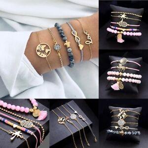 5pcs/set Women Boho Love Sea Turtle Map Rope Beads Bangle Cuff Bracelet Jewelry