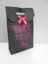 Hen Night Party Black Gift Bag for the Bride to Be Goodies Hot Pink Diamante (B)