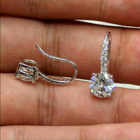 14K White Gold Finish 2Ct VVS1 Round Cut White Moissanite Drop/Dangle Earrings