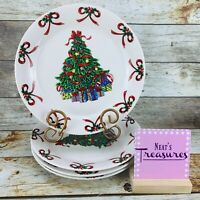 Gibson Designs CHRISTMAS RADIANCE Red Bow Green Tree Ceramic Dinner Plates Set 4