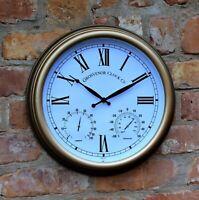 Garden Station Clock Indoor Outdoor Copper effect Temperature Humidity 38cm