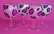 4 vidrio de brillo rosa de animales del leopardo Boda Novia Regalo de Cumpleaños Navidad