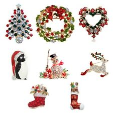 Women Christmas Tree Pin Brooch Full Rhinestones Clip Scarf Party Gift Accessory