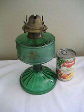 Antique Emerald Ribbed Flowered Kerosene Oil Lamp