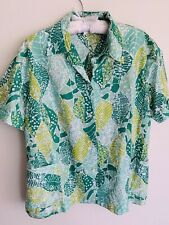L/XL Green Leaf Mosaic Tropical Women Hawaiian Shirt Tiki George Vintage Large
