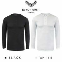 Brave Soul Casual Grandad Long Sleeve Top Plain T Shirt