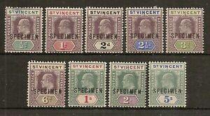 ST VINCENT 1902 EDVII SPECIMEN SET TO 5/- SG76s/84s MINT