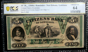 1860's LOUISIANA New Orleans Citizens Bank $5  PCGS 64 CH UNC RFID CHIP