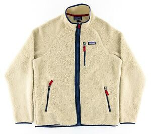 Patagonia Mens Large Retro Pile Fleece Full Zip Jacket El Cap Khaki Blue Soft