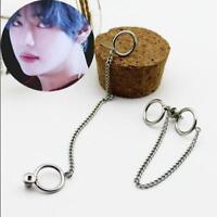 PAIR KPOP BTS V Earrings Bangtan Boys V Doulbe Ring Chain Fashion Stud Earrings