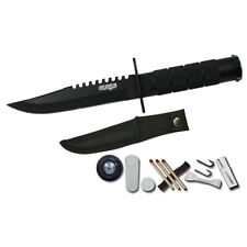 "8.5"" BLK Hunting Camping Survival Knife w/ Kit & Sheath Emergency Steel Fishing"