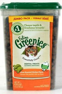 1 Package Feline Greenies 11 Oz Oven Roasted Chicken Flavor Dental Cat Treats