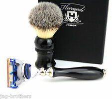 Luxury Shaving Gift Set for Mens Synthetic Hair Brush 5 Edge Blade Razor HARYALI