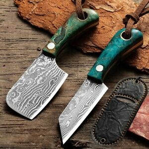 Mini Pocket Knife Cleaver Peeling Keychain Lanyard Ornament Set Damascus Camping