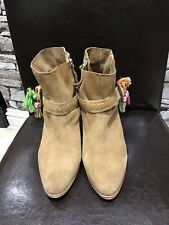 Joe Browns Womens Light Brown Suede Ankle Boots Size 8 With Buckle Tassel Detail