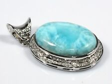 "Natural Genuine Larimar Pendant Sterling Silver Ct 85 2"" Gemstone Fashion Jewelr"