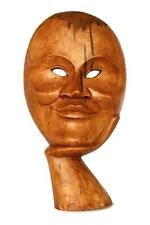 Wooden Hand Carved Abstract Smiling Man Face Mask Statue Art Sculpture Decor